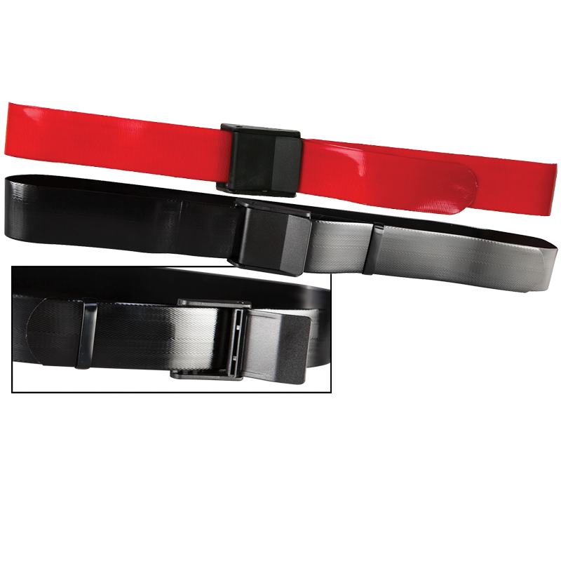 Secure® EZ Clean Vinyl Gait Belt with EZ Release Plastic Buckle - Red & Black