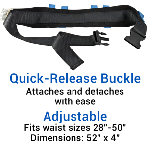 Secure® Six Hand Grip Transfer & Walking Belt - Quick-Release Belt