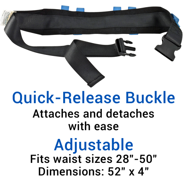 Secure® Six Hand Grip Transfer & Walking Belt - Quick-Release Belt