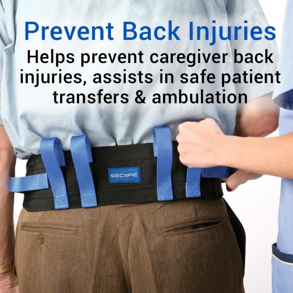 Secure® Six Hand Grip Transfer & Walking Belt - Prevent Back Injuries