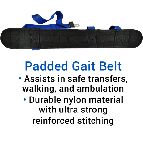 Secure® Padded Gait Belt with 7 Hand Grips