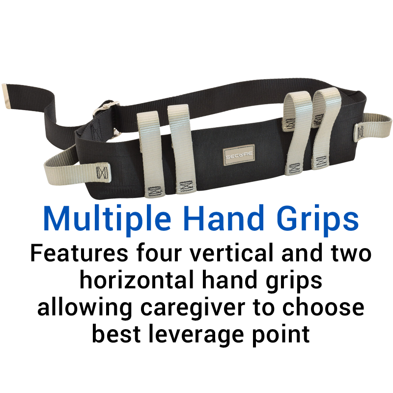 Secure® Six Hand Grip Transfer & Walking Belt - Multiple Hand Grips