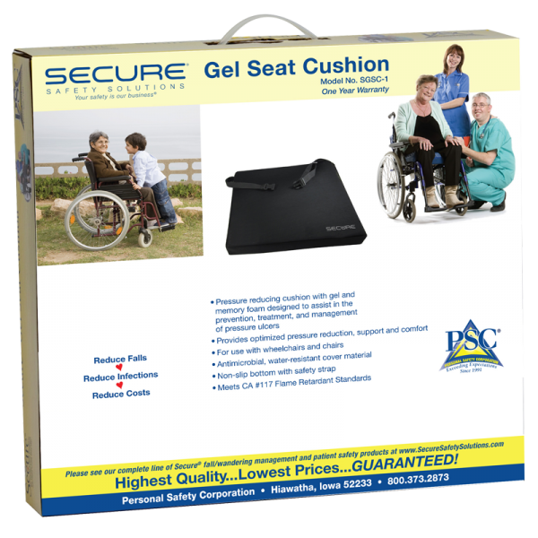 Secure® Gel Seat Cushion w/safety straps - packaging