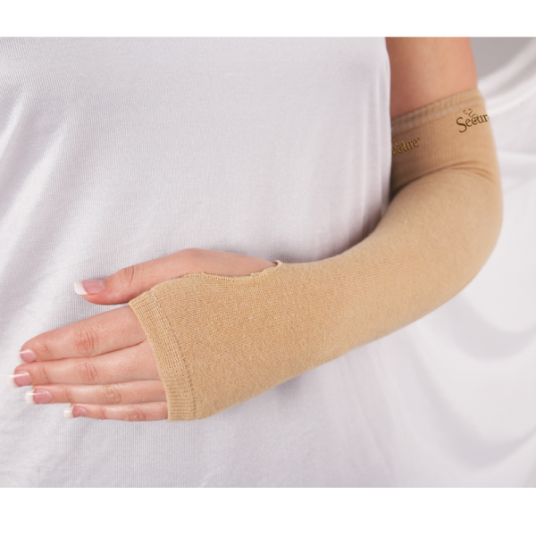 Ultra Soft Wound Prevention SecureSleeves for Arms in Brown in use